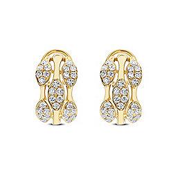 Earrings - Diamond Designs by Sima Two-tone 18K Gold 1.50ctw Diamond Cluster Multi Row Huggie Hoop Earrings - 179-539