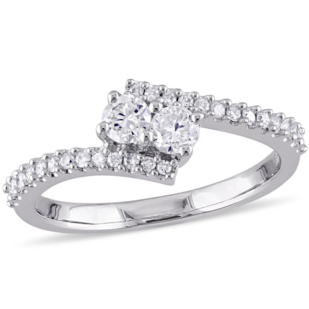 Julianna B 14k White Gold 0 49ct Round Cut Diamond Bypass Ring