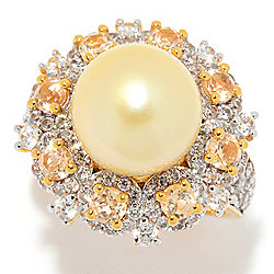 Gem Treasures® Sterling Silver 10-11mm Golden South Sea Cultured Pearl & Gem Ring