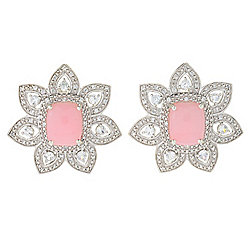 Gem Treasures® 11 x 9mm Pink Opal & White Zircon Flower Stud Earrings