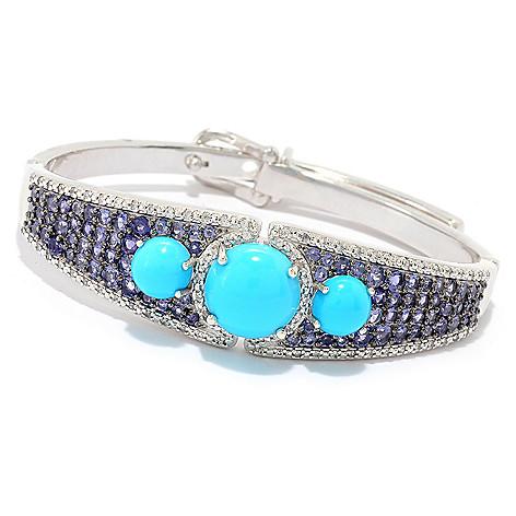 ab6bd819266438 179-608- Gem Treasures® Sleeping Beauty Turquoise, Iolite & White Zircon  Adjustable
