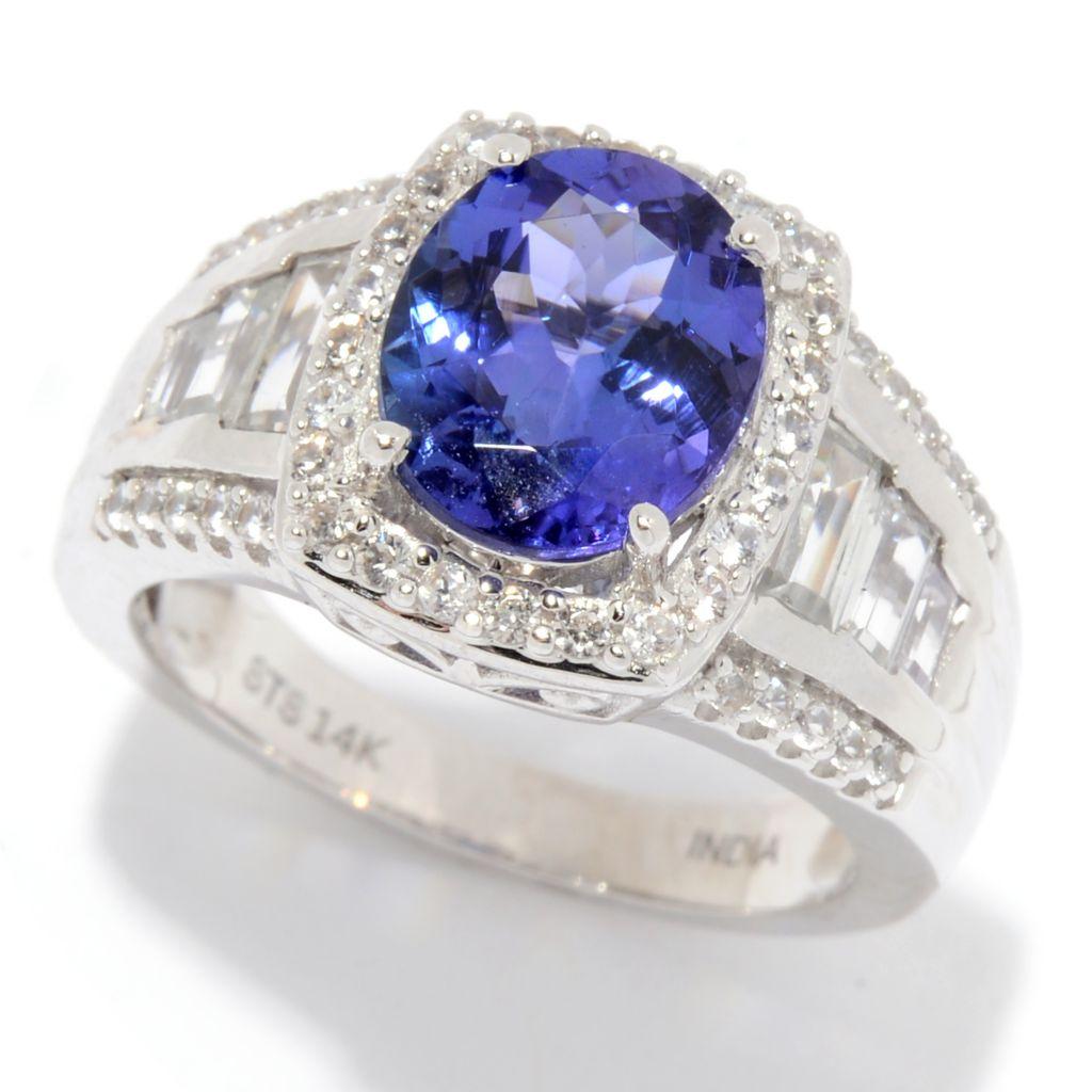 Gem Treasures® 14K 3.83ctw AAA Tanzanite & White Zircon Ring - 179-642