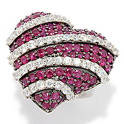 Precious Stones - Gem Treasures® 3.80ctw Burmese Ruby & White Zircon Heart Ring - 179-728