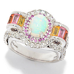 087e8eb8f Victoria Wieck Collection Sterling Silver Ethiopian Opal & Multi Gem Ring