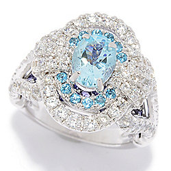 Victoria Wieck Collection Sterling Silver 4.40ctw Aquamarine & Multi Gemstone Ring