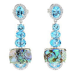 "Dallas Prince Sterling Silver 1.75"" Abalone Quartz Doublet & Gemstone Earrings"