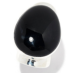 Dominique Dinouart Designs Sterling Silver 30 x 24mm Gemstone Cut-out Band Ring