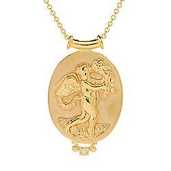 18K - Tagliamonte 18K Gold 17.5 Diamond Accented Cupid Cameo Necklace - 179-975