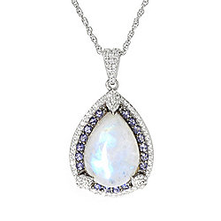 Moonstone - Victoria Wieck Collection Rainbow Moonstone, Iolite & Gemstone Pendant w Chain - 179-989