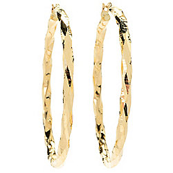 Viale18K® Italian Gold Tubing Torchon Hoop Earrings