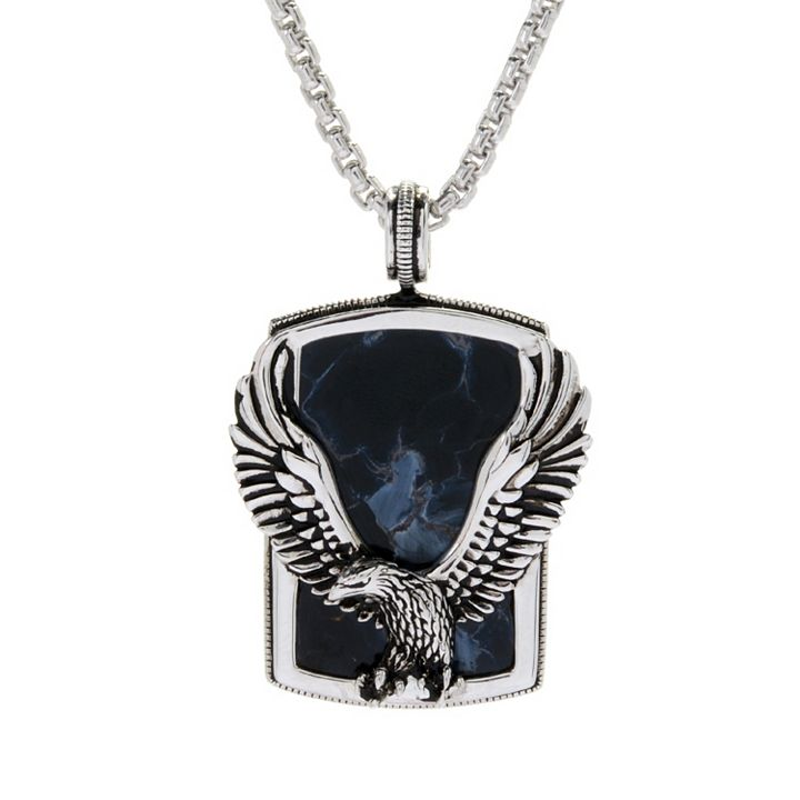 Men's Jewelry - 180-099 EFFY Men's Sterling Silver 31 x 20mm Pietersite Eagle Overlay Pendant w 22 Chain