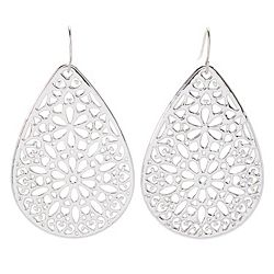 Italian Made Gold 180-114 VOGA Collection 18K Gold 1.75 Electroform Flower Filigree Teardrop Earrings - 180-114