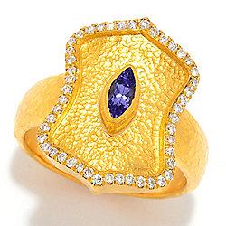 Cevherun - Cevherun 24K Gold Tanzanite & Diamond Shield Ring - 180-146