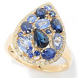 Sapphire - EFFY Royale Bleu 14K Gold 2.75ctw Multi Cut Sapphire & Diamond Cluster Ring - 180-161