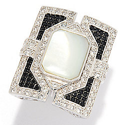 Dallas Prince Mother-of-Pearl, Black Spinel & White Zircon Rectangular Ring