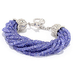 Dallas Rocks - 180-218 Dallas Prince Sterling Silver Tanzanite Adjustable Beaded Toggle Bracelet - 180-218