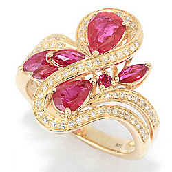 Ruby - EFFY Amore 14K Gold 2.26ctw Multi Shape Ruby & Diamond Ring - 180-233