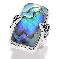 Hilary Joy Sterling Silver 28 x 14mm Abalone Quartz Doublet & Gemstone Ring