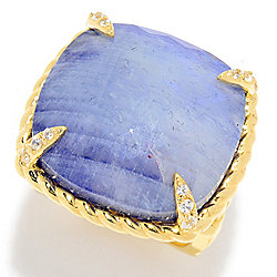 Hilary Joy Couture 20mm Blue Corundum Rainbow Moonstone Doublet & White Zircon Ring