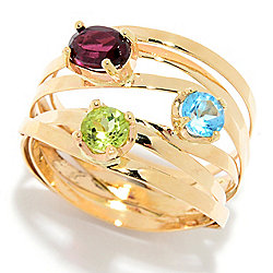 Golden Odyssey - Golden Odyssey 14K Gold 1.11ctw Blue Topaz, Garnet & Peridot Highway Ring - 180-333
