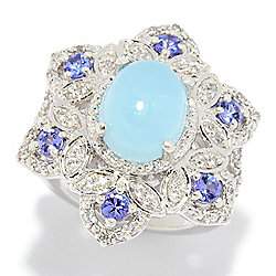 Gem Treasures® 10 x 8mm Oval Aquamarine, Tanzanite & White Zircon Ring