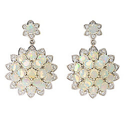 Opal - Gem Treasures® 1.25 Ethiopian Opal & White Zircon Drop Earrings - 180-378