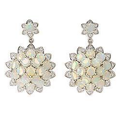 Opal - Gem Treasures® 1.25 Ethiopian Opal & White Zircon Drop Earrings - 180-378