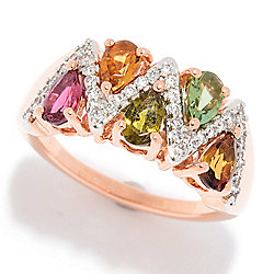 Gemporia 14K Rose Gold 1.05ctw Multi Color Tourmaline & Gem Zigzag Ring