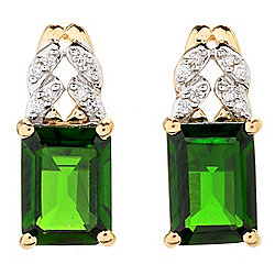 Gemporia 14K Gold 2.74ctw Chrome Diopside & Diamond Stud Earrings