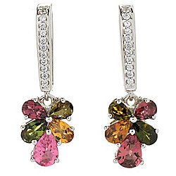 "Gemporia 1"" 1.84ctw Pear Cut Multi Color Tourmaline & Gemstone Drop Earrings"
