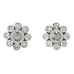 Diamond Treasures® Sterling Silver 0.42ctw Rose Cut Diamond Flower Stud Earrings