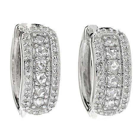 45b03bb55 180-419- Diamond Treasures® Sterling Silver 0.63ctw Rose Cut Diamond Huggie  Hoop