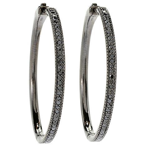 d2e6f6c8b2de3 Diamond Treasures®, Sterling Silver, Choice of Size, Black Diamond, Hoop  Earrings