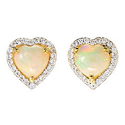 Gem Treasures® Ethiopian Opal & White Zircon Heart Stud Earrings