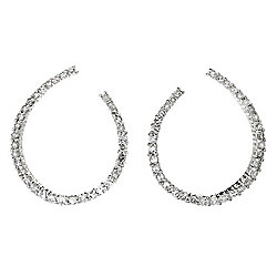 Diamond Treasures® Sterling Silver Diamond Front-Facing Hoop Earrings