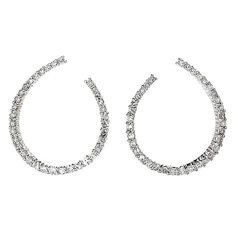 8b11b18ad 180-485- Diamond Treasures® Sterling Silver Diamond Front-Facing Hoop  Earrings