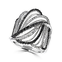 Caviar - EFFY Caviar 14K White Gold 0.83ctw Black & White Diamond Wavy Open Band Ring - Size 7 - 180-521