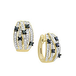 Earrings - EFFY Caviar 14K Gold 0.69ctw Black & White Diamond Huggie Hoop Earrings - 180-527