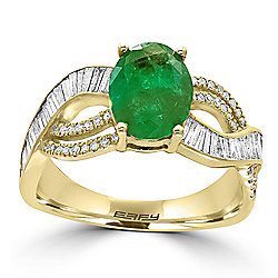 "EFFY ""Brasilica"" 14K Gold 2.00ctw Emerald & Multi Shape Diamond Ring - Size 7"