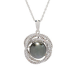 Pendants - 180-584 Kwan Collections Sterling Silver Tahitian Cultured Pearl & White Zircon Pendant w 18 Rope Chain - 180-584