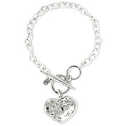 Passage to Israel™ Sterling Silver Heart Charm Toggle Bracelet, 12.1 grams