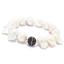 Bracelets - 180-601 Kwan Collections 13-15mm Freshwater Cultured Pearl & Black Spinel Magnetic Bracelet - 180-601