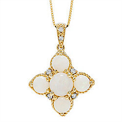 Opal - Ft. Australian Lightning Ridge Opal at ShopHQ- 180-647 Fierra™ 14K Gold Australian Opal & Diamond Cross Shaped Pendant w 18 Box Chain - 180-647