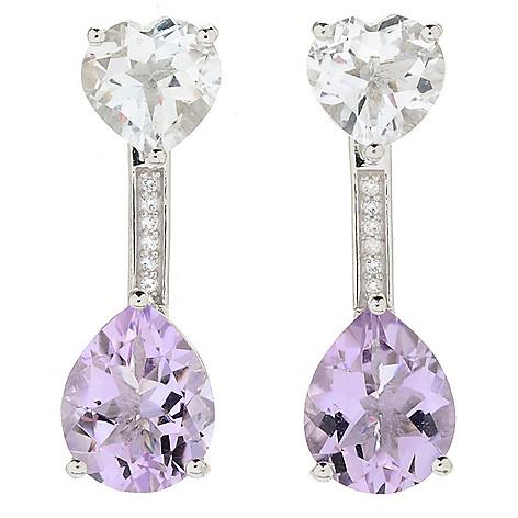 b0ccef7cb 180-659- Peace & Love Gemstone Heart Stud Earrings w/ Pear Shaped Drop