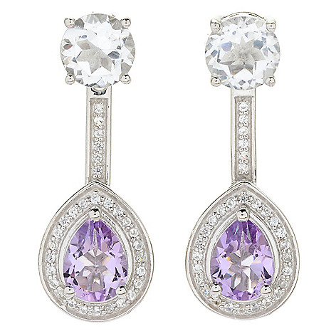 bc8d08b79 Peace & Love White Topaz Stud Earrings w/ Amethyst Halo Drop Jackets ...