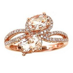Gold with Gemstones 180-675 Fierra™ 14K Rose Gold 2.15ctw Morganite & Diamond Open Band Ring - 180-675
