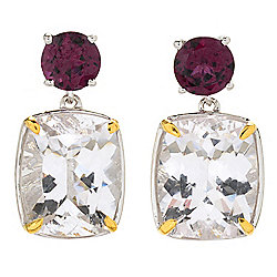 Gem Insider® 10.02ctw Cushion Cut Danburite & Rhodolite Drop Earrings
