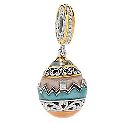 Charms - Charmed en Vogue Final Cut Yellow Chalcedony Flip-open Easter Egg Drop Charm - 180-817