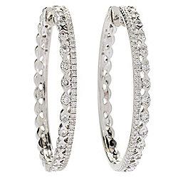 Gems Of Distinction 14k White Gold 1 25 02ctw Diamond 2 Row Hoop