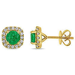 Julianna B 14K Gold 1.07ctw Emerald & Diamond Halo Stud Earrings